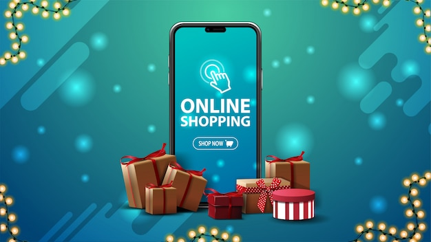 Online shopping banner with a large smartphone with presents boxes around on blue background