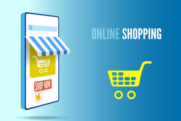 Интернет-магазин баннер со смартфоном и тележкой векторные иллюстрации