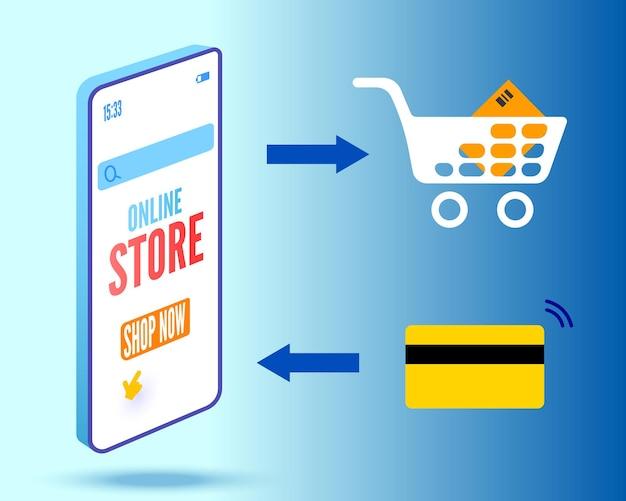 Интернет-магазин баннер со smartpone и тележкой векторные иллюстрации