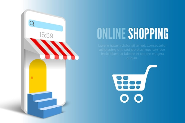 Online shopping banner with white smartphone and stairs vector illustration