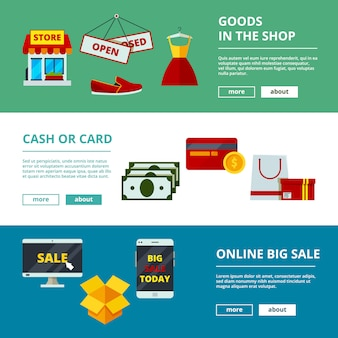 Online shopping banners. e-commerce web store products mobile application marketing strategy concept