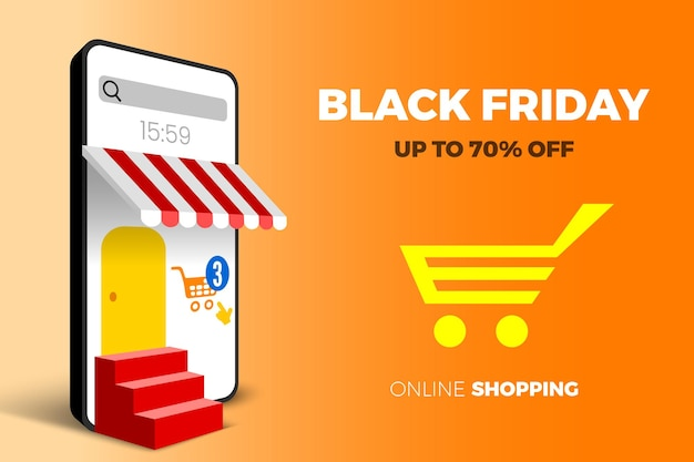 Online shopping black friday sale banner with smartphone cart and stairs vector illustration
