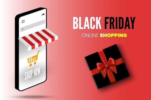 Online shopping black friday sale banner with smartpone cart and gift box vector illustration
