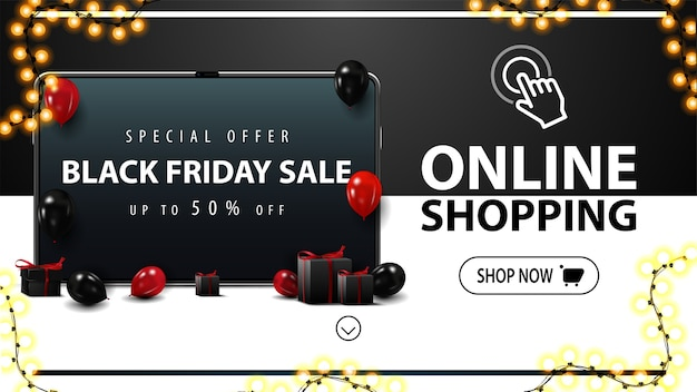 Online shopping, black friday sale, black discount banner with tablet with offer on screen, red and black balloons, presents and button