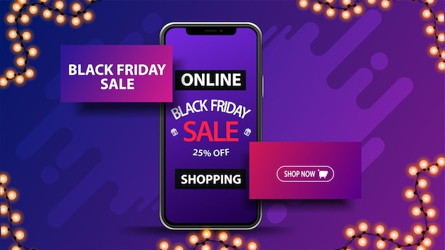 Online shopping, black friday sale, purple discount banner with smartphone with offer on screen