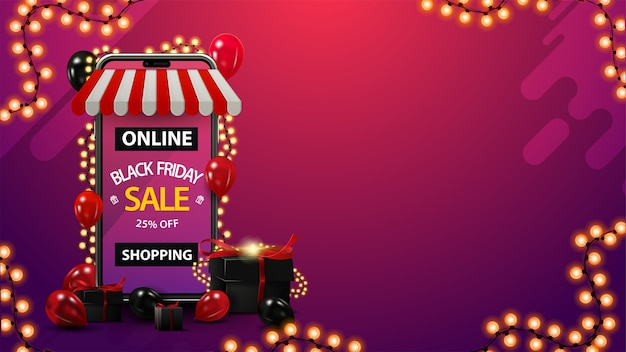Online shopping, black friday sale, up to 25% off, purple discount template with copy space, volumetric smartphone wrapped with garland and presents around