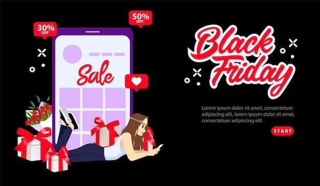 オンラインショッピング、ブラックフライデースーパーセールコンセプト。ブラックフライデーのスペシャルオファーが30または50オフ。スマートフォンを使用してオンラインショッピングをする女の子。