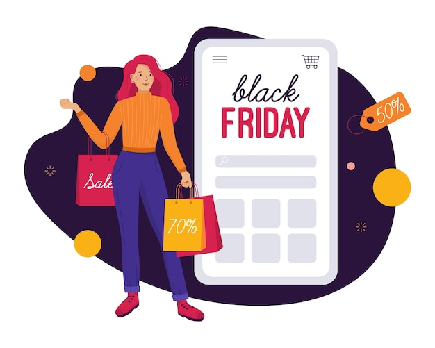 Online shopping on black friday