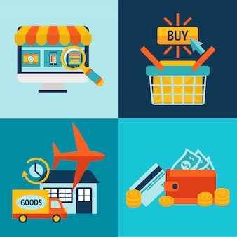 Online shopping business elements set