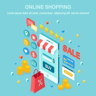 Онлайн шоппинг . купить в розничном магазине через интернет. распродажа со скидкой. изометрический мобильный телефон, смартфон с деньгами, кредитная карта, отзыв клиентов, отзывы, сумка, пакет.