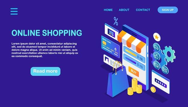 Онлайн шоппинг. купить в розничном магазине через интернет. распродажа со скидкой. изометрический смартфон с сумкой