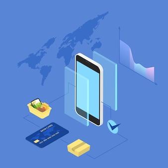 온라인 쇼핑. 기기를 사용하여 웹 사이트에서 상품을 구매하고 온라인으로 결제합니다. 현대 기술, 인터넷 및 전자 상거래. 아이소 메트릭 그림