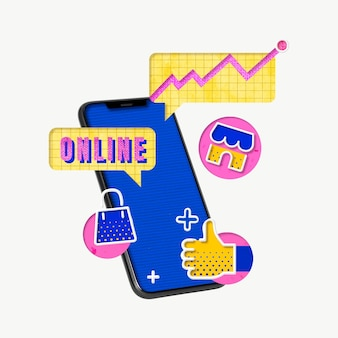 Online shopping cart colorful graphics for marketing campaign