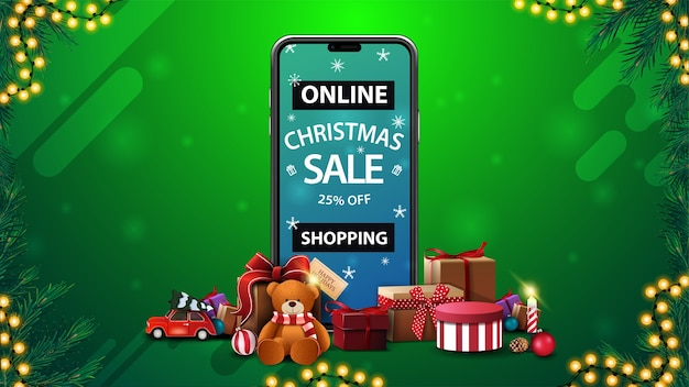 Интернет-магазины, рождественская распродажа, скидка до 25%, скидочный баннер со смартфоном с предложением на экране и подарками вокруг
