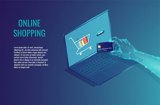 Online shopping on computer concept