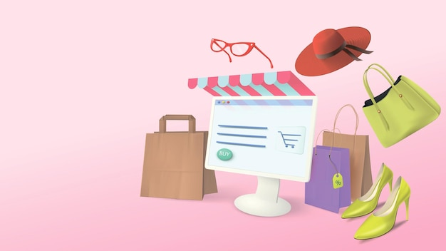 Online shopping. computer shopping at home with realistic merchandise banner