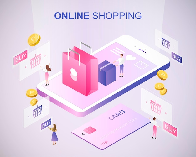 Online shopping concept 3d isometric projection