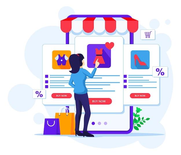 온라인 쇼핑 컨셉, 한 여성이 온라인 모바일 애플리케이션 스토어에서 제품을 선택하고 구매합니다.