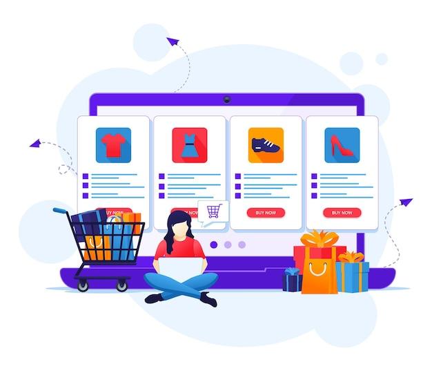 オンラインショッピングのコンセプト、女性がオンラインストアのフラットイラストで商品を選んで購入する