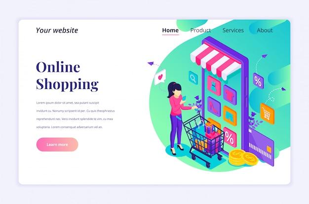 オンラインショッピングの概念。モバイルアプリケーションストアで商品を購入する若い女性。ランディングページテンプレートのモダンなフラット等尺性