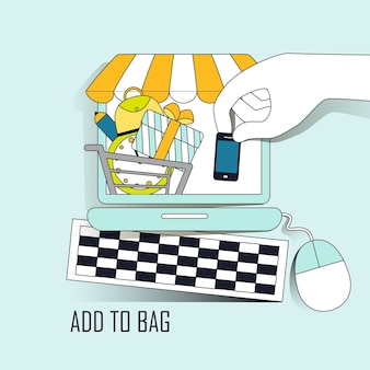 Online shopping concept: add products to bag in thin line style