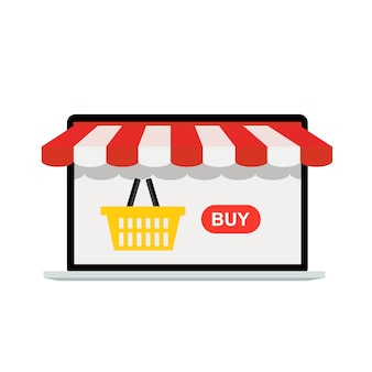 Online shopping concept background with market on laptop screen .  illustration