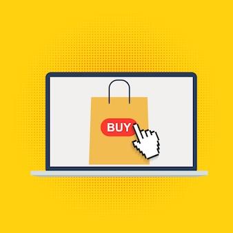 ノートパソコンの画面上の市場とオンラインショッピングの概念の背景。図