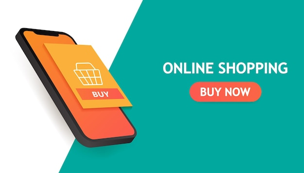 Online shopping concept banner Premium Vector