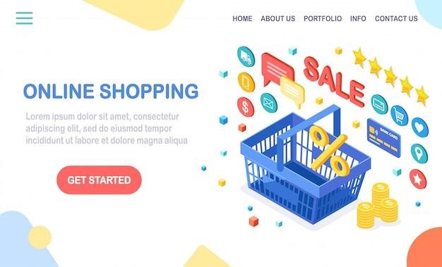 Концепция покупок в интернете. купить в розничном магазине через интернет. распродажа со скидкой. 3d изометрическая корзина с деньгами, кредитной картой, обзором клиентов, обратной связью, значками магазина. дизайн для баннера