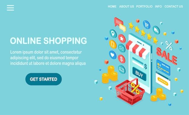 Концепция покупок в интернете. купить в розничном магазине через интернет. распродажа со скидкой. изометрический мобильный телефон, смартфон с деньгами, кредитная карта, отзыв клиентов, обратная связь, сумка, корзина.