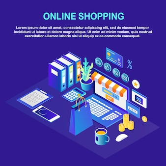 Online shopping concept. buy in retail shop by internet discount sale isometric computer, money, bag