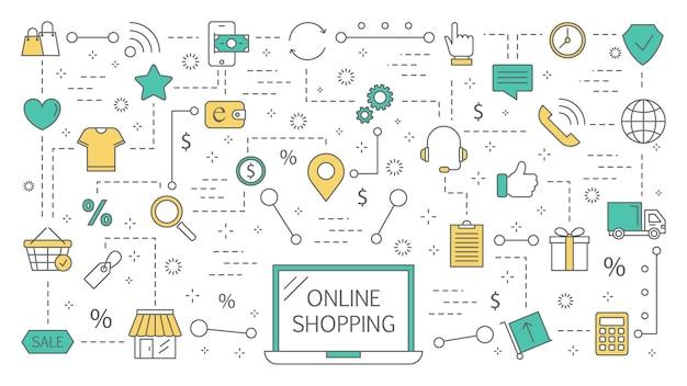 Концепция покупок в интернете. покупка товаров и оплата онлайн на сайтах с помощью устройств. современные технологии, интернет и электронная коммерция. абстрактная линия иллюстрации