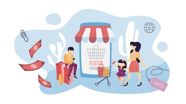 Концепция покупок в интернете. покупка товаров и оплата онлайн на сайтах с помощью устройств. современные технологии, интернет и электронная коммерция. иллюстрация
