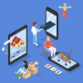 Концепция покупок в интернете. покупка товаров и оплата онлайн на сайтах с помощью устройств. современные технологии, интернет и электронная коммерция. изометрическая иллюстрация
