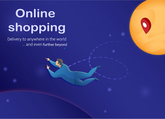 Online shopping concept, customen in outer space.