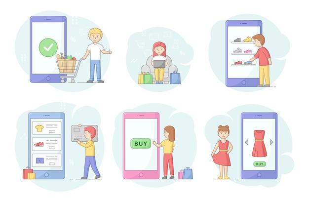 オンラインショッピングの概念。顧客はガジェット画面で商品の注文、購入、支払いを行います。オンラインギフト購入、ギフトショップアプリケーション、モバイル購入コンセプト。漫画の線形アウトラインフラットベクトルイラスト。