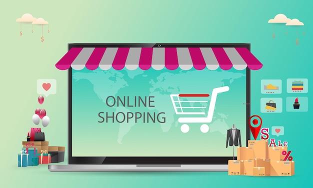 オンラインショッピング、コンセプトデスクトップ、クレジットカード、青色の背景、