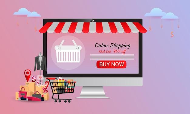 온라인 쇼핑, 컨셉 데스크탑, 신용 카드 사용