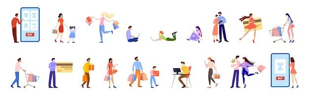 온라인 쇼핑 개념. 전자 상거래, 판매중인 고객. 휴대 전화의 앱. 스타일 일러스트