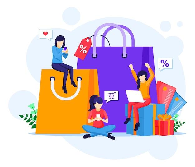온라인 쇼핑 개념 평면 그림