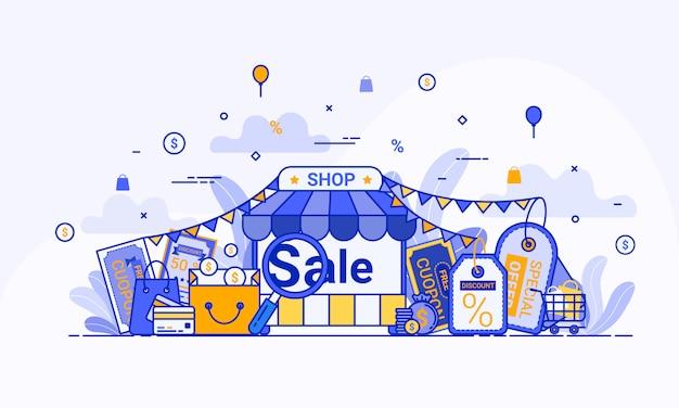 웹 방문 페이지, 웹 사이트 및 모바일 응용 프로그램의 디지털 마케팅에 대한 온라인 쇼핑 개념.