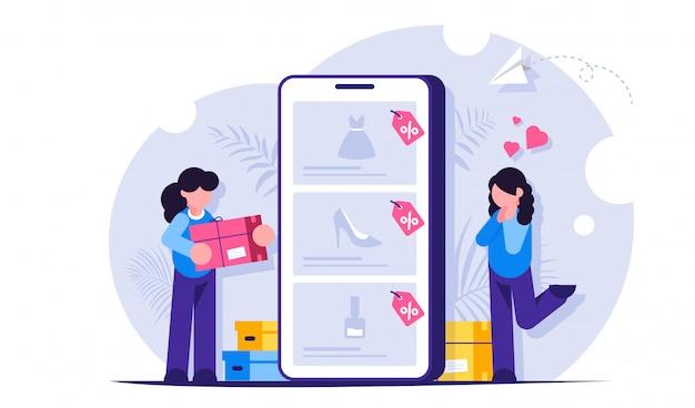 Интернет-магазин концепции. девушки совершают покупки в интернет-магазине, выбирая товары на сайте через мобильный телефон.