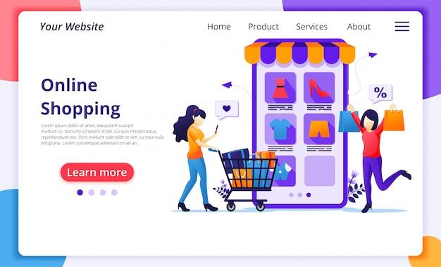 オンラインショッピングのコンセプト、モバイルオンラインアプリケーションストアで商品を購入する幸せな若い女性。ウェブサイトのランディングページテンプレート
