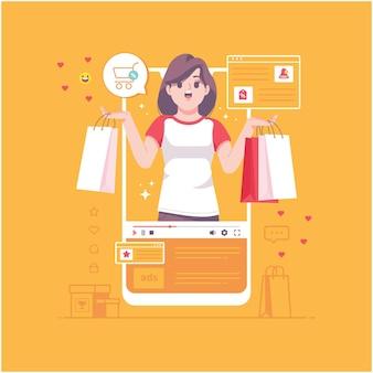 온라인 쇼핑 개념 그림 배경