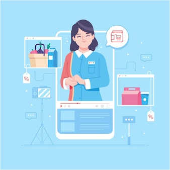 Online shopping concept illustration background