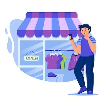フラットなデザインのキャラクターとオンラインショッピングの概念図