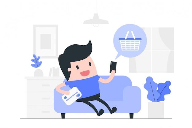 온라인 쇼핑 개념 그림.