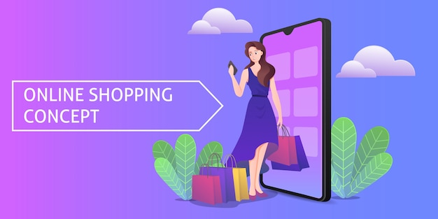 Online shopping concept illustration