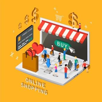 3d 등각 투영 평면 디자인의 온라인 쇼핑 개념