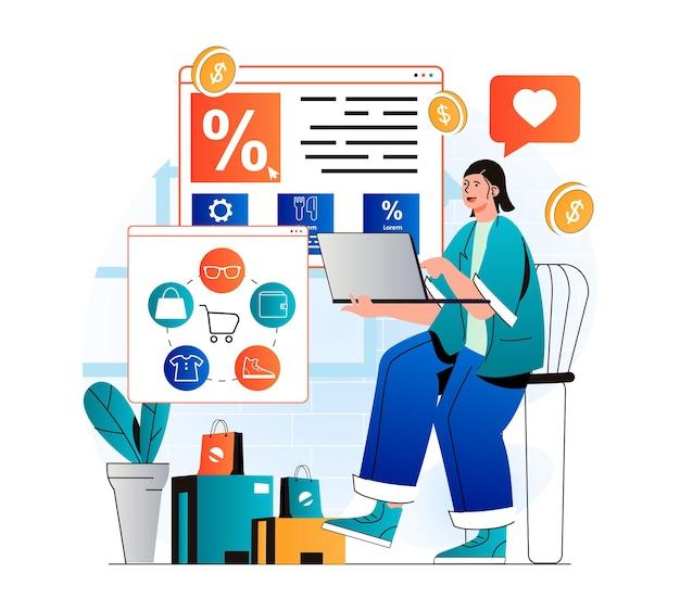 현대 평면 디자인의 온라인 쇼핑 개념 노트북 주문 및 지불을 사용하여 쇼핑하는 여성